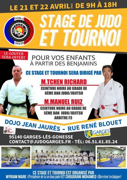 Stage de judo et tournoi le 21 et 22 avril 2015